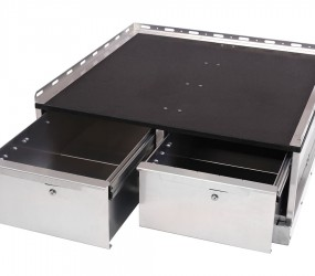 Dual drawer with mounting platform.